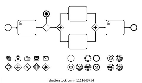 Business Process Diagrams Icons Flat Vector Stock Vector (Royalty