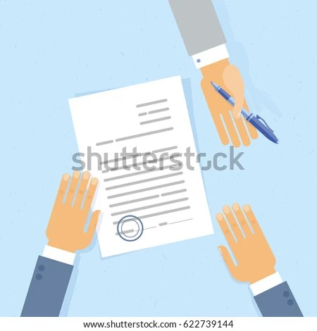 Businessman Sign Business Letter Contract Document Stock Vector