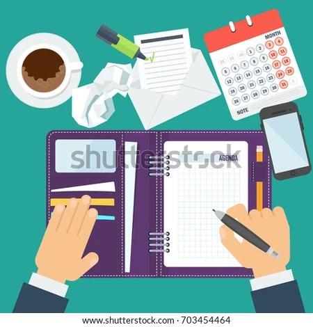 Businessman Writes Daily Routine Schedule Agenda Stock Vector