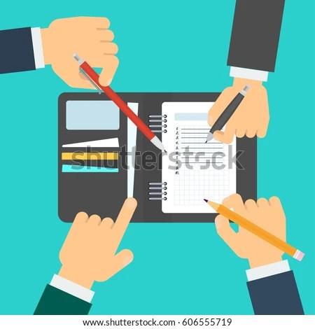 Businessmen Make Agenda Daily Routine Schedule Stock Vector (Royalty