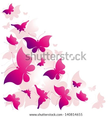 Butterflies Designpink Background Stock Vector (Royalty Free