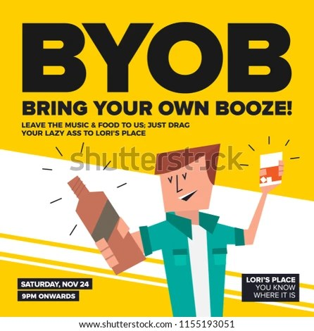 BYOB Party Template Poster Flyer Blog Stock Vector (Royalty Free