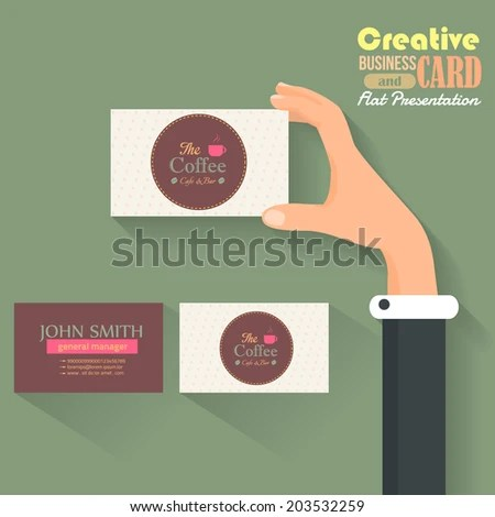 Cafe Business Card Template Flat Presentation Stock Vector (Royalty