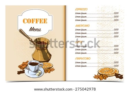 Cafe Menu Template Front Page Oldfashioned Stock Vector (Royalty