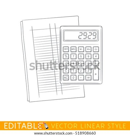 Calculator On Accounting Form Editable Outline Stock Vector (Royalty