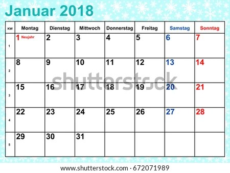 Calendar 2018 Month January Public Holidays Stock Vector (Royalty