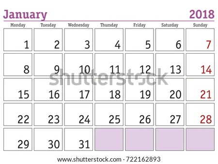 Calendar 2018 Simple Digital Calendar January Stock Vector (Royalty