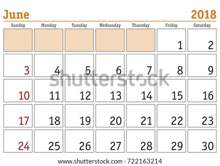 Calendar 2018 Simple Digital Calendar June Stock Vector (Royalty