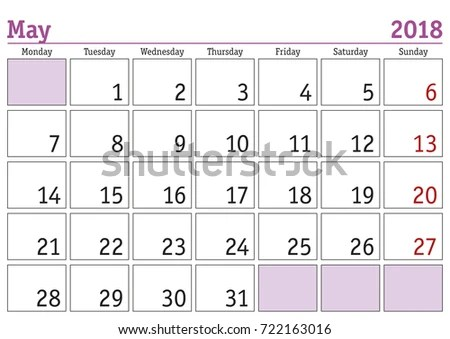 Calendar 2018 Simple Digital Calendar May Stock Vector (Royalty Free