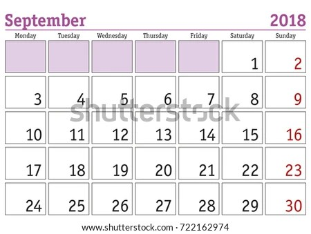 Calendar 2018 Simple Digital Calendar September Stock Vector