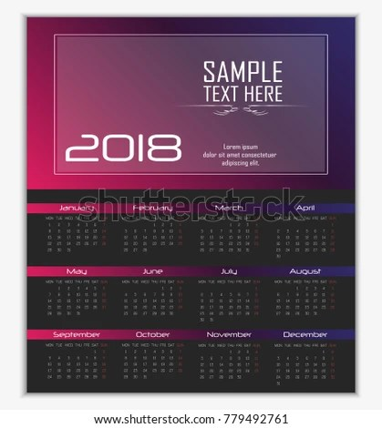 Calendar 2018 Template Flyer Design On Stock Vector (Royalty Free