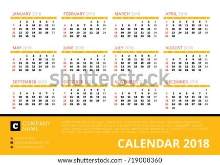 Calendar 2018 Year Vector Design Print Stock Vector (Royalty Free
