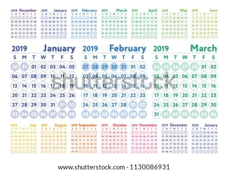 Calendar 2019 Vector Color English Calender Stock Vector (Royalty