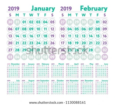 Calendar 2019 Vector English Calender January Stock Vector (Royalty