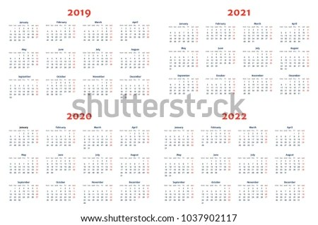 Calendar 20192022 Years On Transparent Background Stock Vector