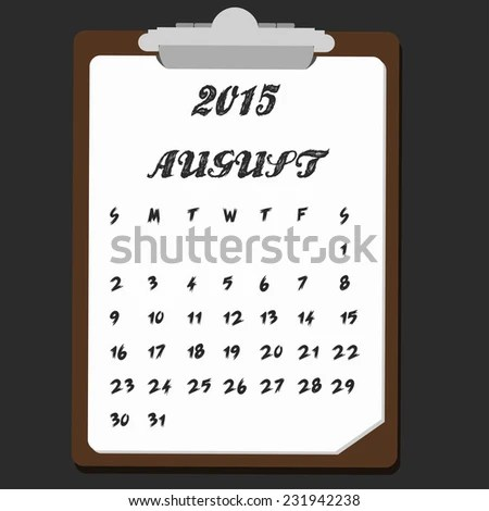 Calendar August Note Theme Stock Vector (Royalty Free) 231942238