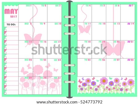 Calendar Daily Planner Template Monthly May Stock Vector (Royalty