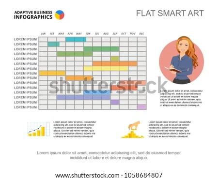 Calendar Diagram Timeline Charts Editable Template Stock Vector