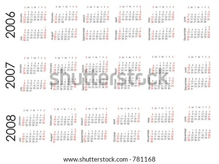 Calendar Next Three Years All Numbers Stock Vector (Royalty Free