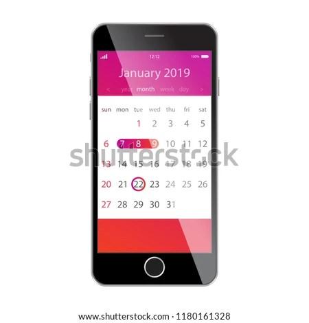 Calendar On Smartphone Screen Planning Schedule Stock Vector