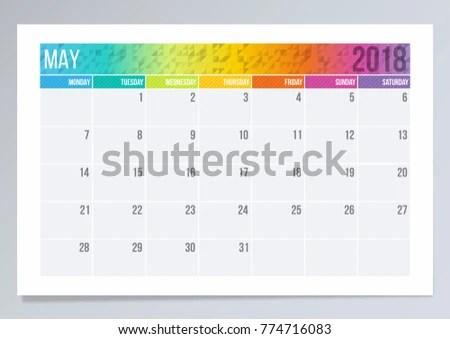 Calendar Page May 2018 Stock Vector (Royalty Free) 774716083