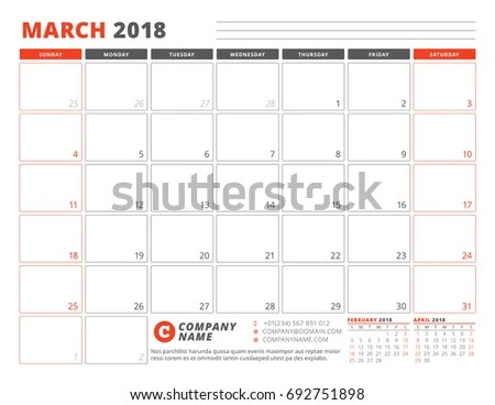 Calendar Planner Template March 2018 Business Stock Vector (Royalty