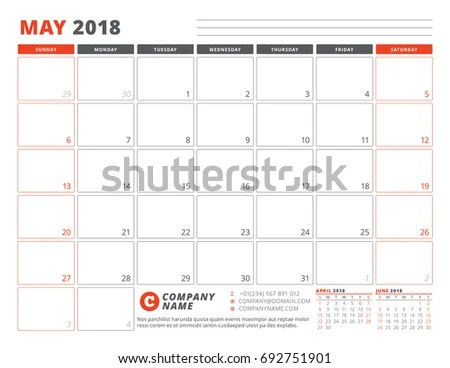 Calendar Planner Template May 2018 Business Stock Vector (Royalty