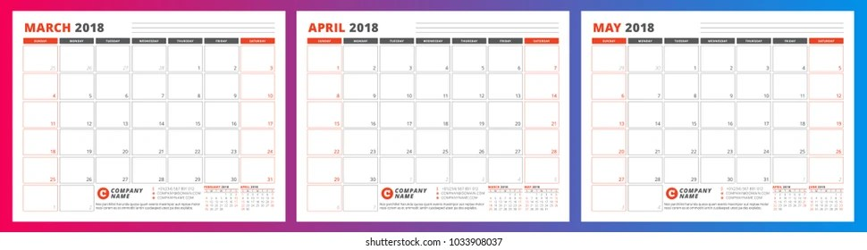 Calendar Planner Template Spring 2018 March Stock Vector (Royalty