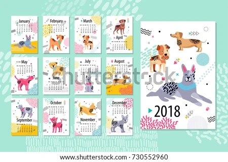 Calendar Sample 2018 Animal Pages Months Stock Vector (Royalty Free