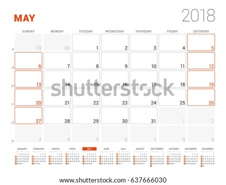 Calendar Template 2018 Year May Business Stock Vector (Royalty Free