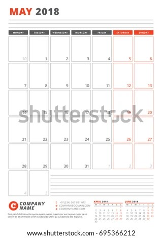 Calendar Template May 2018 Business Planner Stock Vector (Royalty