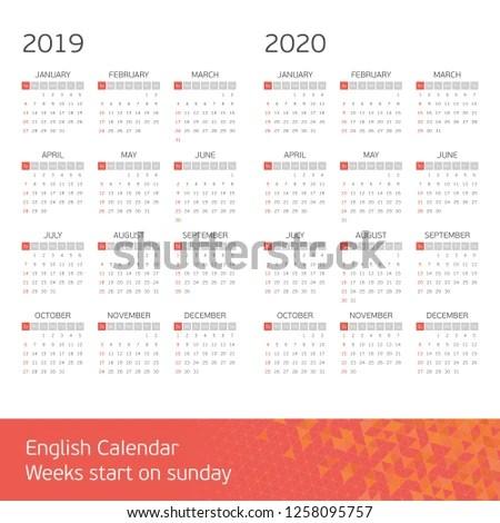 Calendar Years 2019 2020 Week Starts Stock Vector (Royalty Free