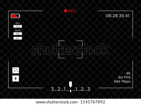 Camera Recording Screen View Template Transparent Stock Vector
