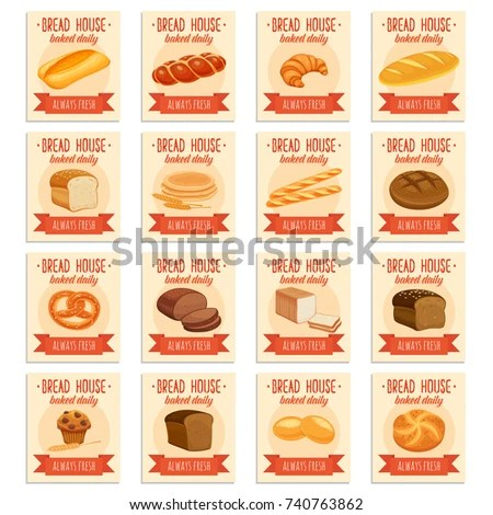 Card Template Food Bread Products Rye Stock Vector (Royalty Free