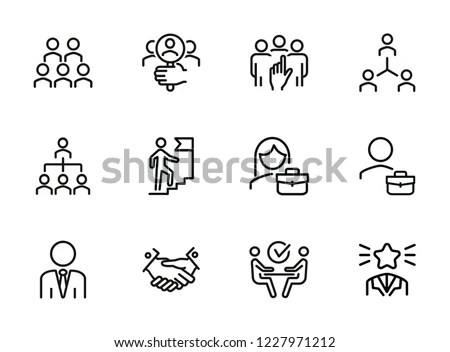 Career Promotion Line Icon Set Candidate Stock Vector (Royalty Free