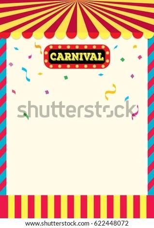 Carnival Sign Frame Design Background Template Stock Vector (Royalty