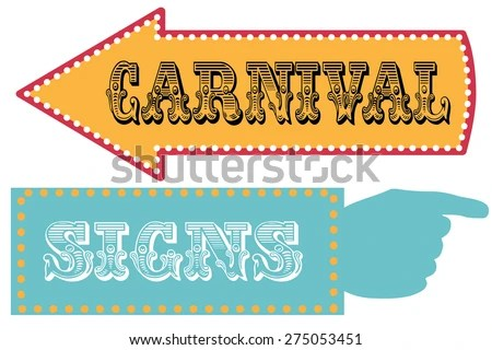 Carnival Sign Template Direction Signs Arrow Stock Vector (Royalty
