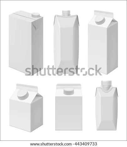Carton Milk Juice Pack Template Blank Stock Vector (Royalty Free