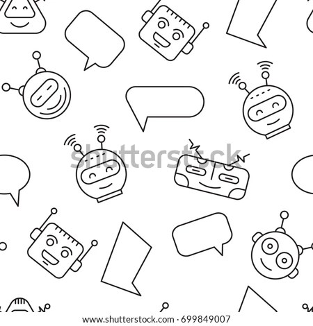 Cartoon Character Cute Robot Seamless Pattern Stock Vector (Royalty