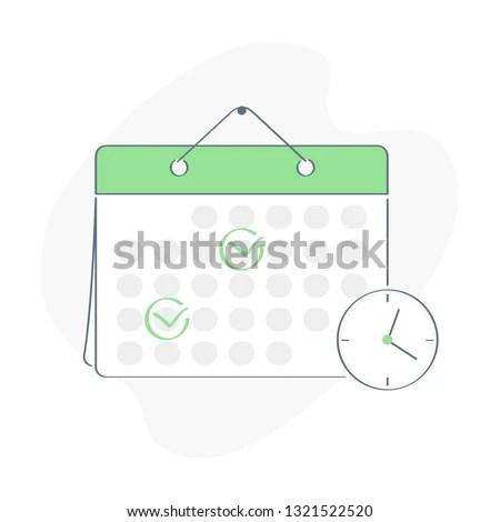 Cartoon Character Make Online Schedule Business Stock Vector
