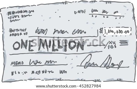 Cartoon Check Filled Out Amount One Stock Vector (Royalty Free