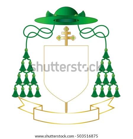 Catholic Archbishop Coat Arms Ecclesiastical Heraldry Stock Vector