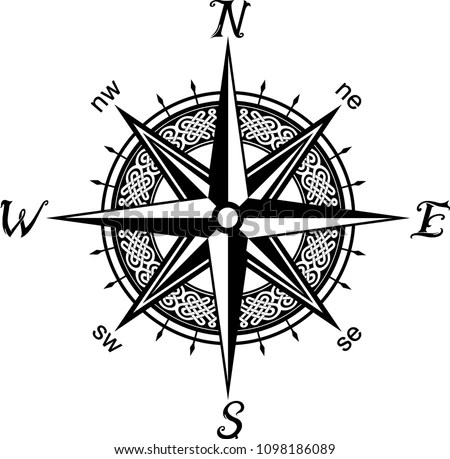 Celtic Compass Tattoo Stock Vector (Royalty Free) 1098186089