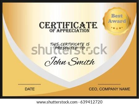 Certificate Appreciation Best Award Symbol Stock Vector (Royalty