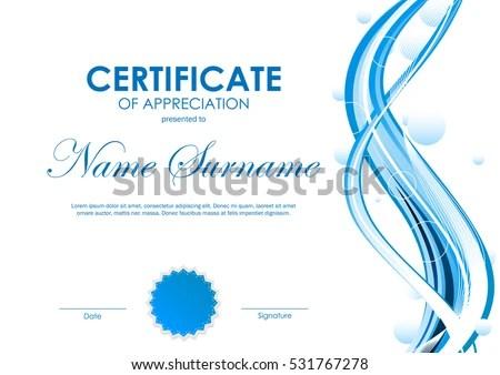 Certificate Appreciation Template Blue Futuristic Dynamic Stock