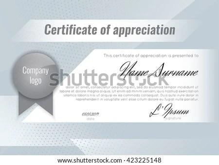 Certificate Appreciation Template Stock Vector Royalty