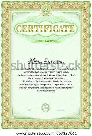 Certificate Blank Template Line Vintage Frame Stock Vector (Royalty