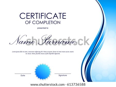 Certificate Completion Template Blue Dynamic Light Stock Vector