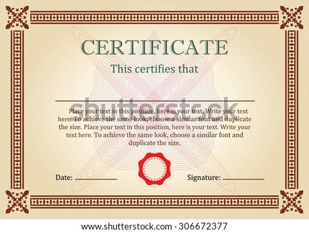 Certificate Diploma Completion Design Template Ornamental Stock