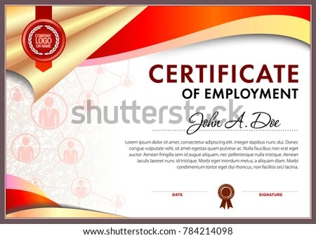 Certificate Employment Blank Template Stock Vector (Royalty Free